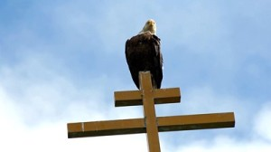 stock-footage-eagle-preens-feathers-atop-russian-church-cross-blue-sky-background-p